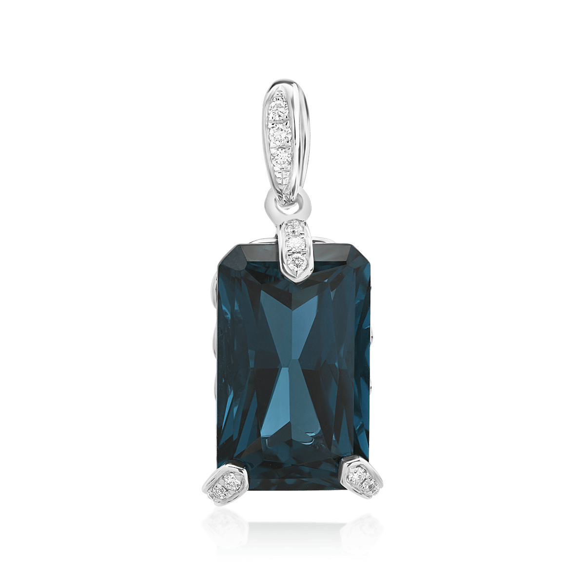 Pandant din aur alb de 14K cu topaz london blue de 11.33ct